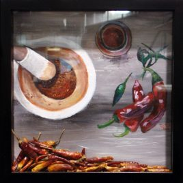 Chili Peppers Shadow Box Painting