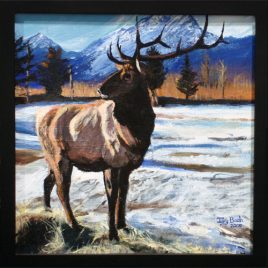 Elk Snowy Lake Original Painting
