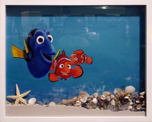 Shadow box painting of Nemo, Marlin, & Dory from the movie Finding Nemo
