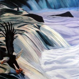 Eagle Fishing the Falls Original Painting