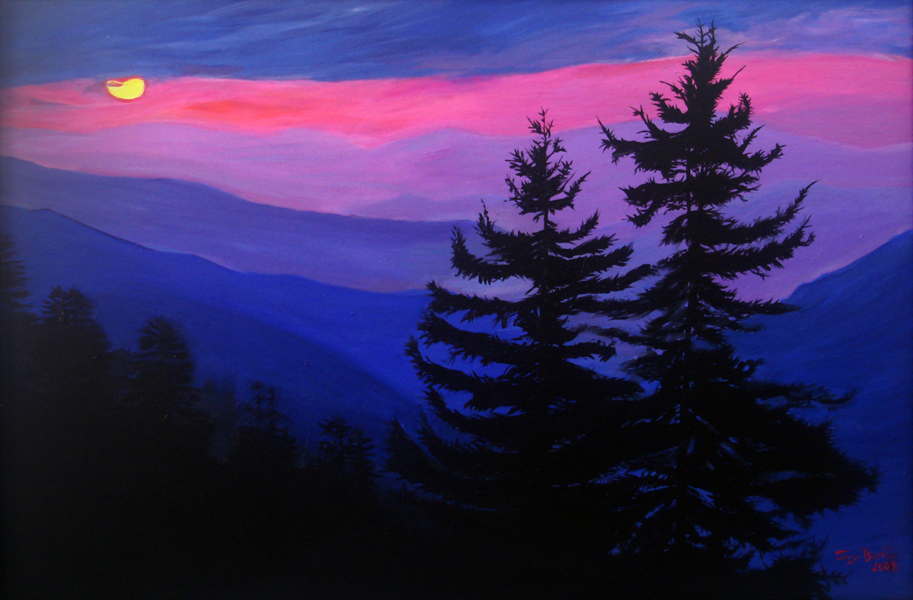 Sunset Mountain Paintings Best Image Wallpaper