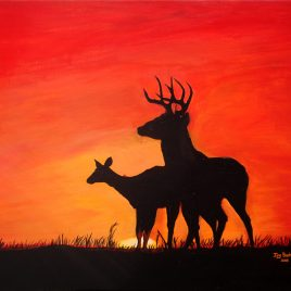 Two Deer Sunset Silhouette Original Painting