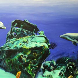 Shipwreck-boat-dolphin-painting