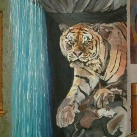 wall mural of a tiger and water fall