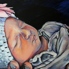 Painting of a baby girl by Ivy Bath