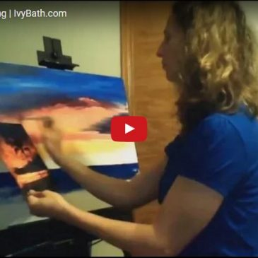 Ocean sunset painting time lapse video