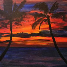 palm tree ocean sunset painting
