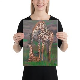 Giraffe Mother and Child Art Print on Canvas